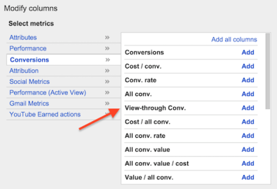 Adwords view through conversion