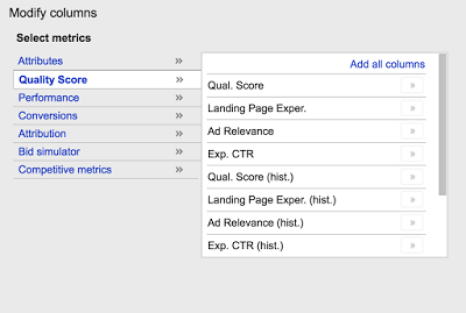 Historical Quality Score in Adwords
