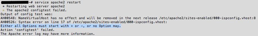 Error al reiniciar Apache