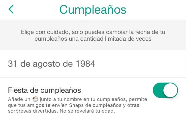 Snapchat Birthday - Cumpleaños