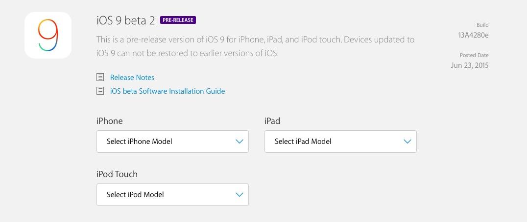 Versiones Beta iOS 9
