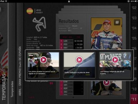 Interfaz de la aplicación MotoGP History