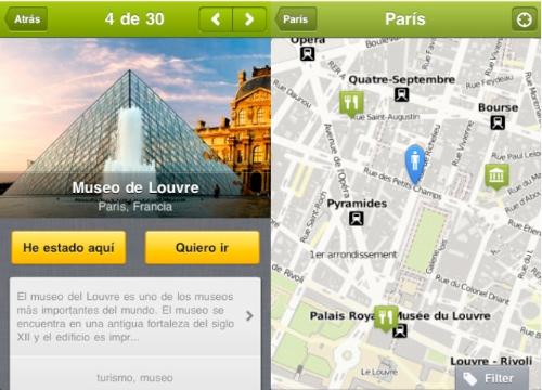 Capturas de pantalla de la aplicación TouristEye para iPhone