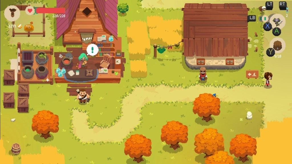 Captura de pantalla del juego Moonlighter. Estilo Pixel Art. Zona del pueblo con varios aldeanos, una casa, árboles naranjas y una tienda de pociones.