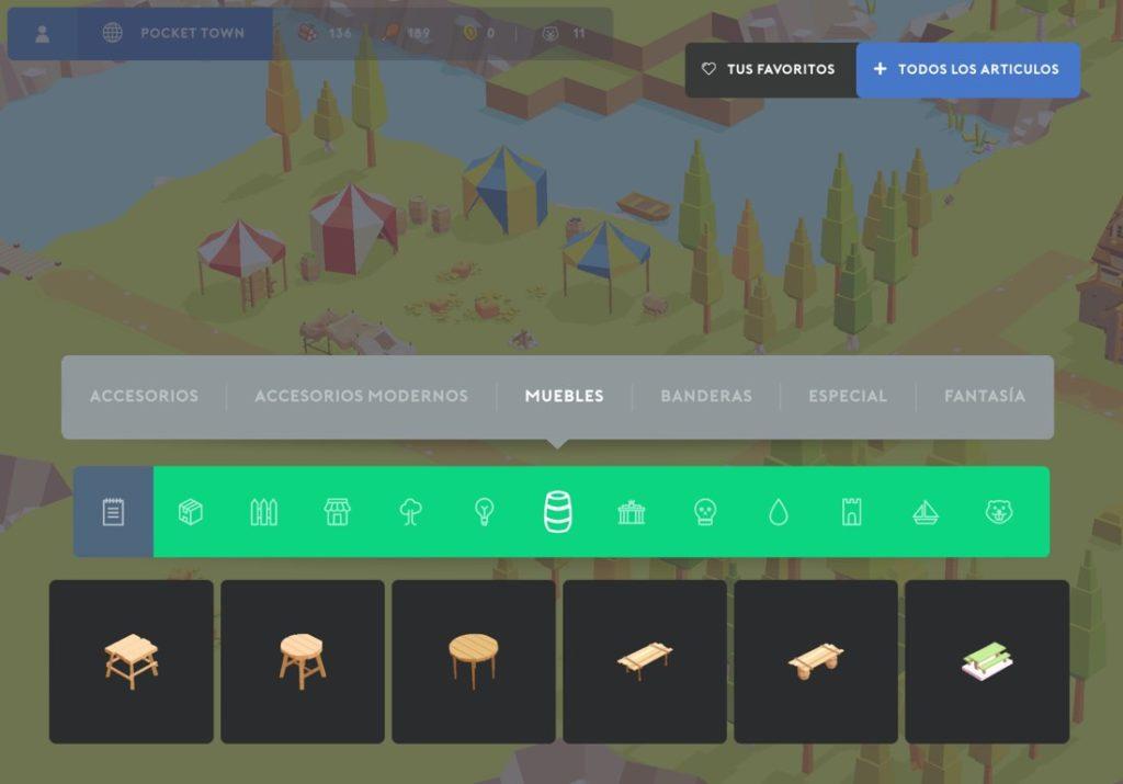 Captura de pantalla del juego de construcción Pocket Buidl. Menú de compra de muebles.