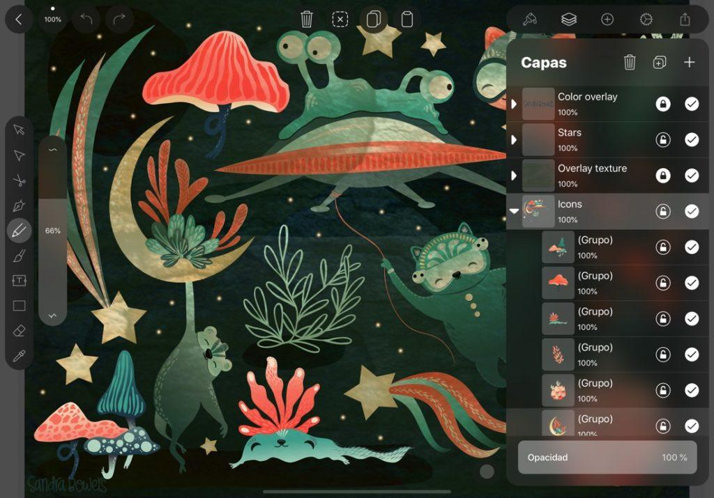Captura de pantalla de la aplicación Vectornator en iPad. Se muestra una ilustración y la interfaz que permite gestionar las capas.