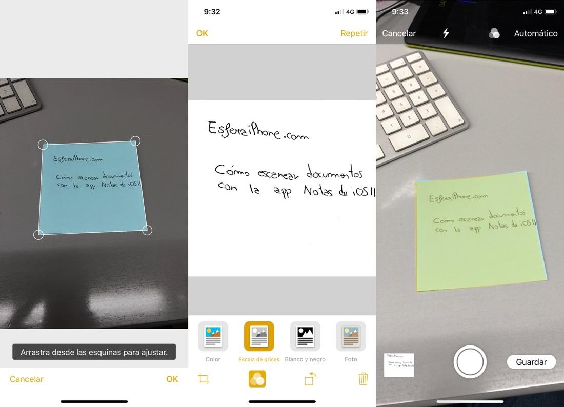Escaner Notas iOS 11 - iPhone y iPad