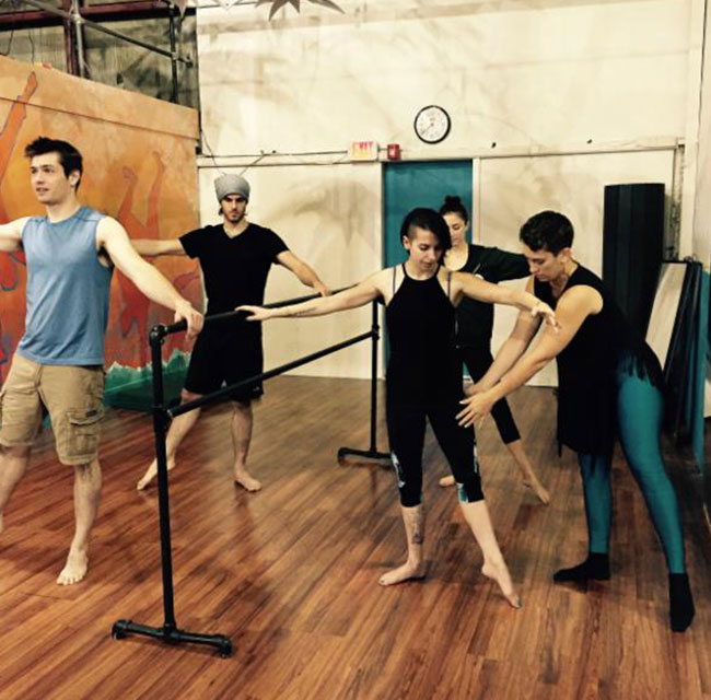 students in a ballet barre class