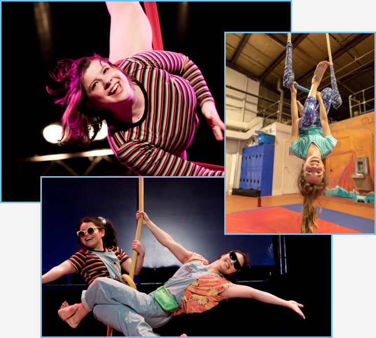 people performing and training at esh circus arts