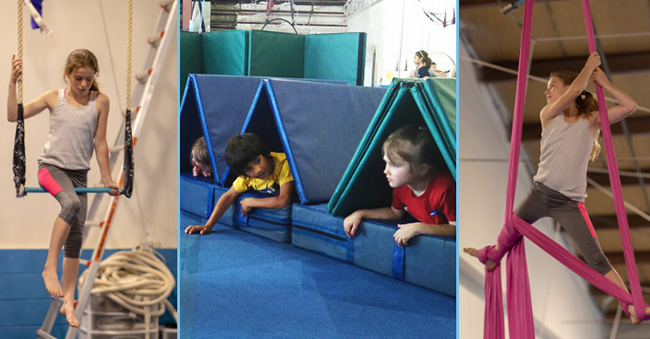 children playing and training on aerial fabric and trapeze