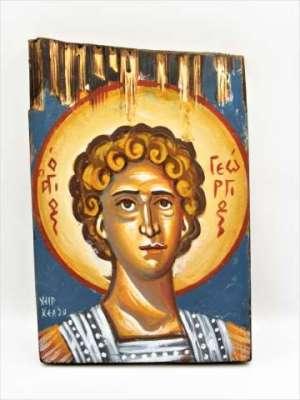 Χειροποίητη Αγιογραφία Άγιος Γεώργιος ζωγραφισμένη στο χέρι, βυζαντινή. Διαστάσεις 0,22εκ Χ 0,14εκ