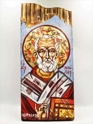 Χειροποίητη Αγιογραφία Άγιος Νικόλαος ζωγραφισμένη στο χέρι, βυζαντινή. Διαστάσεις 0,32εκ Χ 0,14εκ