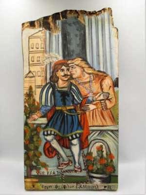 Χειροποίητη ξύλινη εικόνα ΄΄Ερωτόκριτος και Αρετούσα΄΄ εμπνευσμένη από Θεόφιλο ζωγραφισμένη στο χέρι. Διαστάσεις 0,36εκ Χ 0,14εκ