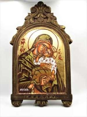 Χειροποίητη Αγιογραφία Παναγιά Γλυκοφιλούσα ζωγραφισμένη στο χέρι, βυζαντινή. Διαστάσεις 0,35εκ Χ 0,21εκ