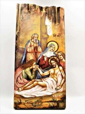 Χειροποίητη Αγιογραφία Επιτάφιος ζωγραφισμένη στο χέρι Επτανησιακή Σχολή. Διαστάσεις 0,31εκ Χ 0,14εκ