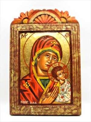 Χειροποίητη Αγιογραφία Παναγιά Βρεφοκρατούσα ζωγραφισμένη στο χέρι σκαλιστή, βυζαντινή. Διαστάσεις 0,25εκ Χ 0,17εκ