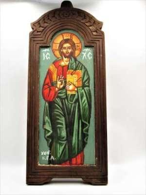 Χειροποίητη Αγιογραφία Χριστός ζωγραφισμένη και σκαλισμένη στο χέρι, βυζαντινή. Διαστάσεις 0,35εκ Χ 0,15εκ