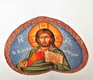 Χειροποίητη αγιογραφία σε καμβά για τοιχογραφίες. Δείγμα από εκκλησάκι μας. Κατόπιν παραγγελίας.