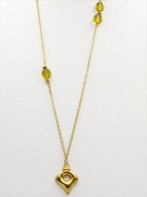 Χειροποίητο Κολιέ μακρύ αλυσίδα με χρυσο στοιχείο και πράσινη πέτρα.
