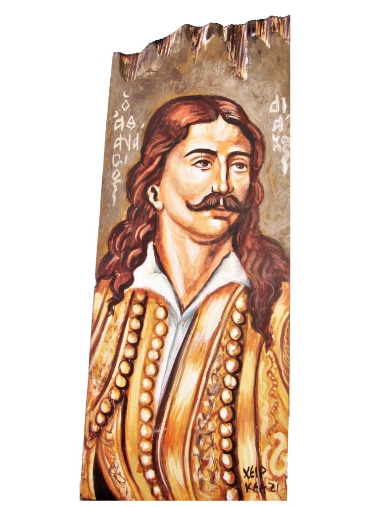 Ζωγραφική σε ξύλο Αθανάσιος Διάκος, δημιουργημένο με αφορμή την επέτειο των 100 χρόνων. Διαστάσεις 0.33εκ Χ 0,14εκ