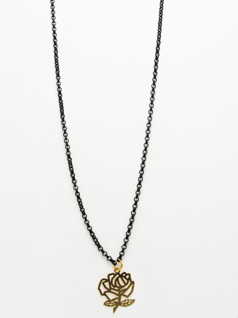 Κολιέ μακρύ αλυσίδα μαύρη τριαντάφυλλο με χρυσό κρεμαστό στοιχείο