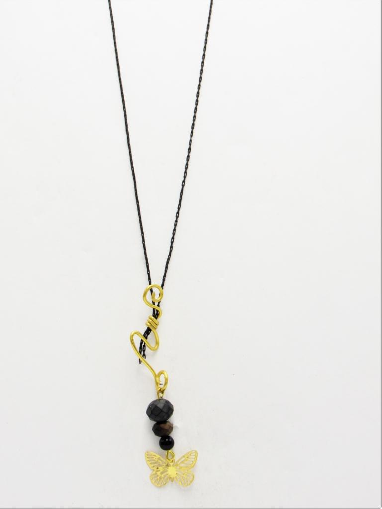 Κολιέ μακρύ αλυσίδα μαύρη πεταλούδα με χρυσά κρεμαστά στοιχεία και μαύρα κρυσταλλάκια