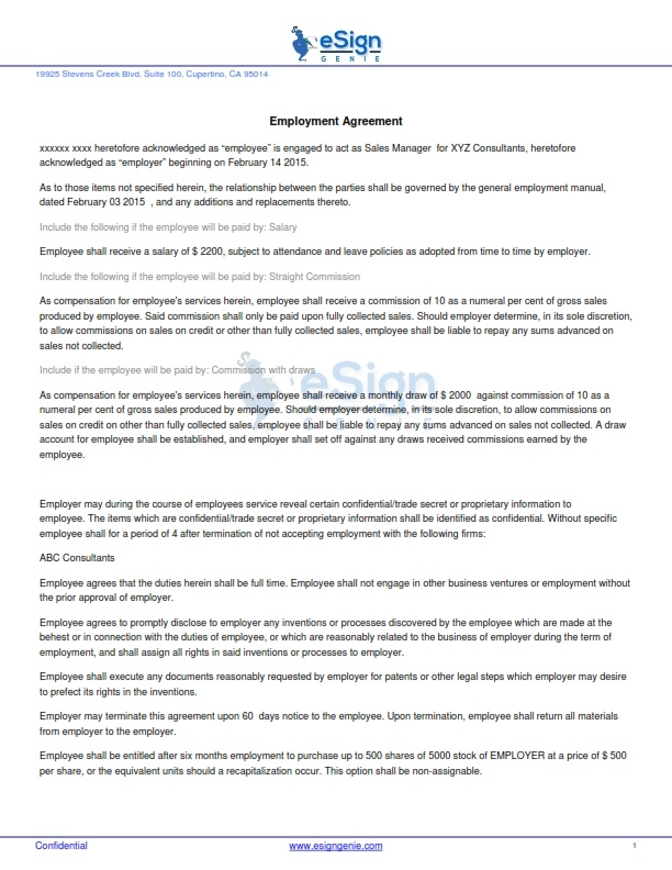 Sales Employment Agreement. Sales Employment Contract Template