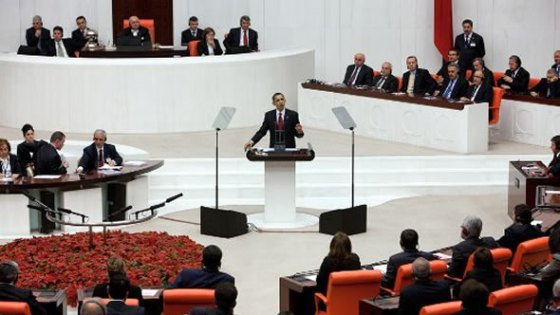 US President Barack Obama speaking to the Turkish Parliament on 6 April 2009