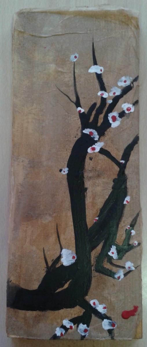 Belles réalisations pour ce projet d'encre noire sur bois préparé au préalable avec un collage de papier de soie teinté au proue de noix.