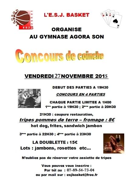 Affiche coinche 27 novembre 2015