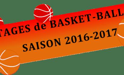 Stages de basket-ball saison 2016 / 2017