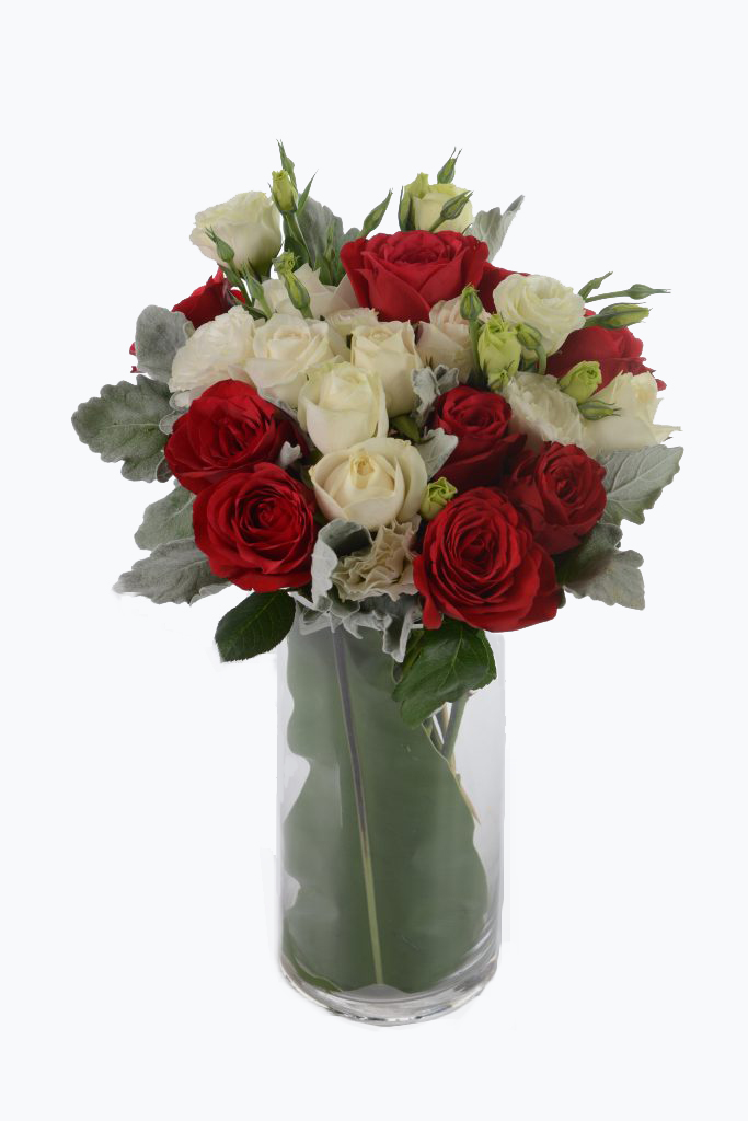 Red & White Roses Bouquet | Flowers In Vase | Eska Creative Gifting