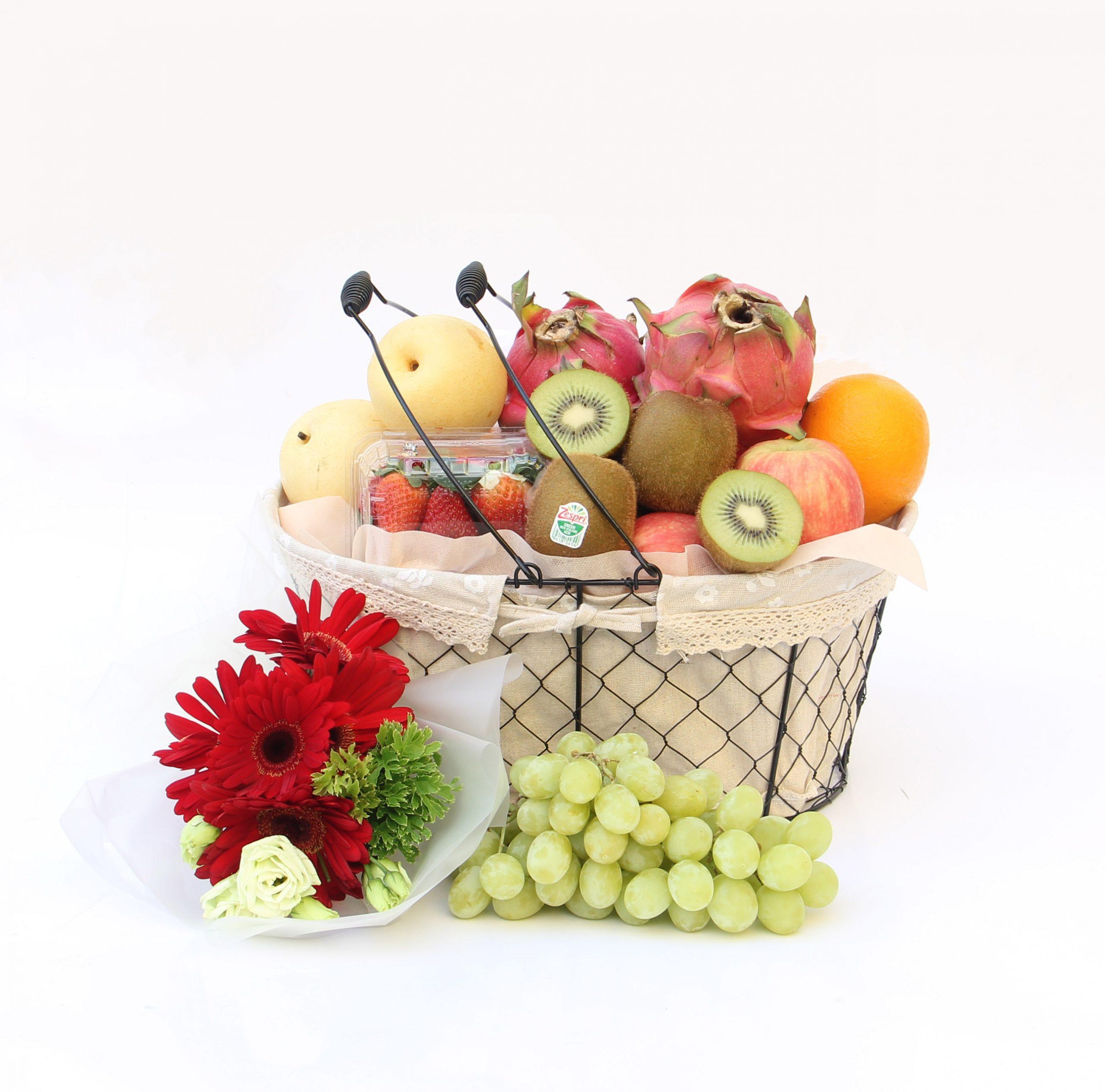 Basket full of fruits with flowers | Fruits Basket | Eska Creative Gifting
