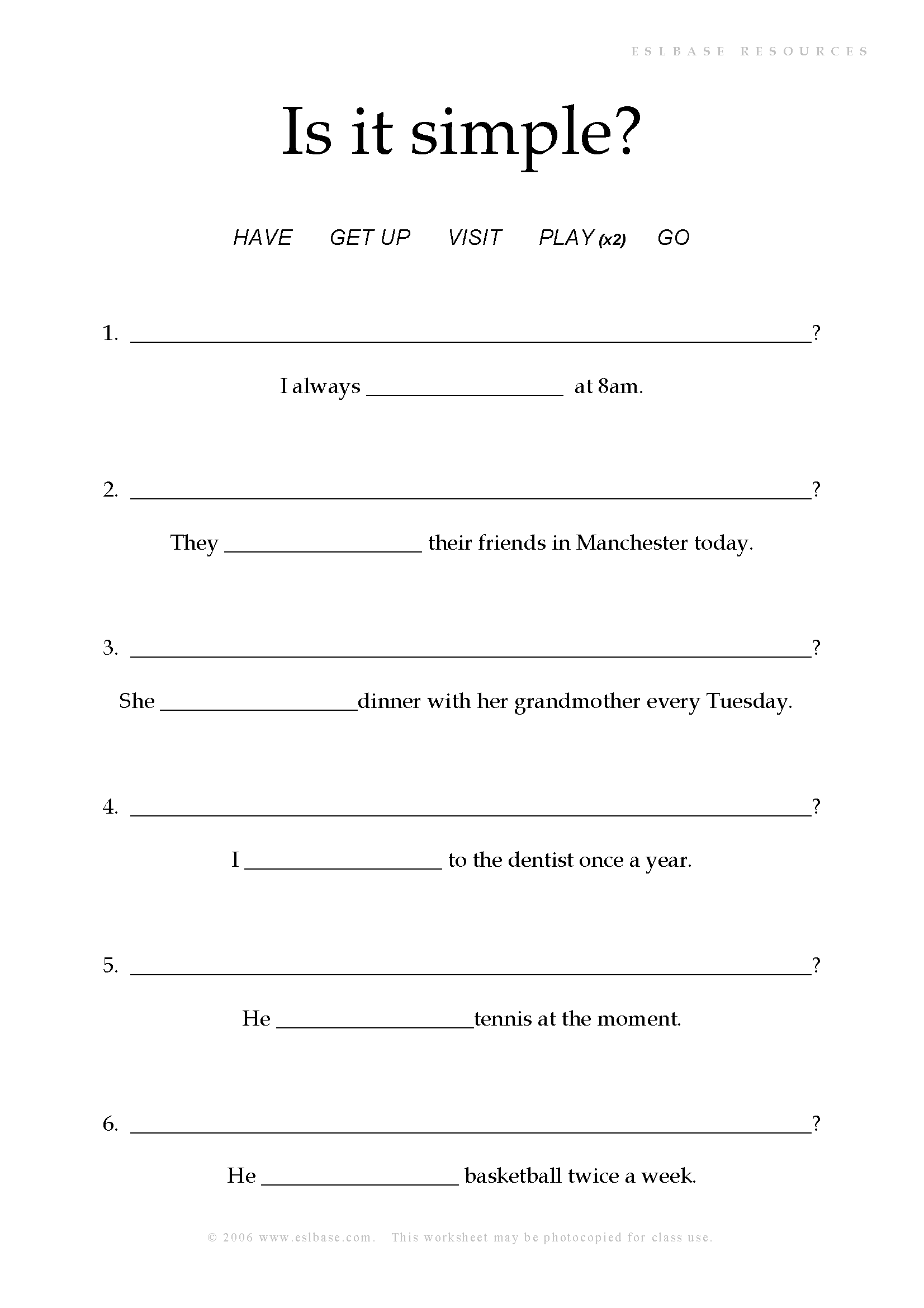 Present Continuous Or Simple Worksheet