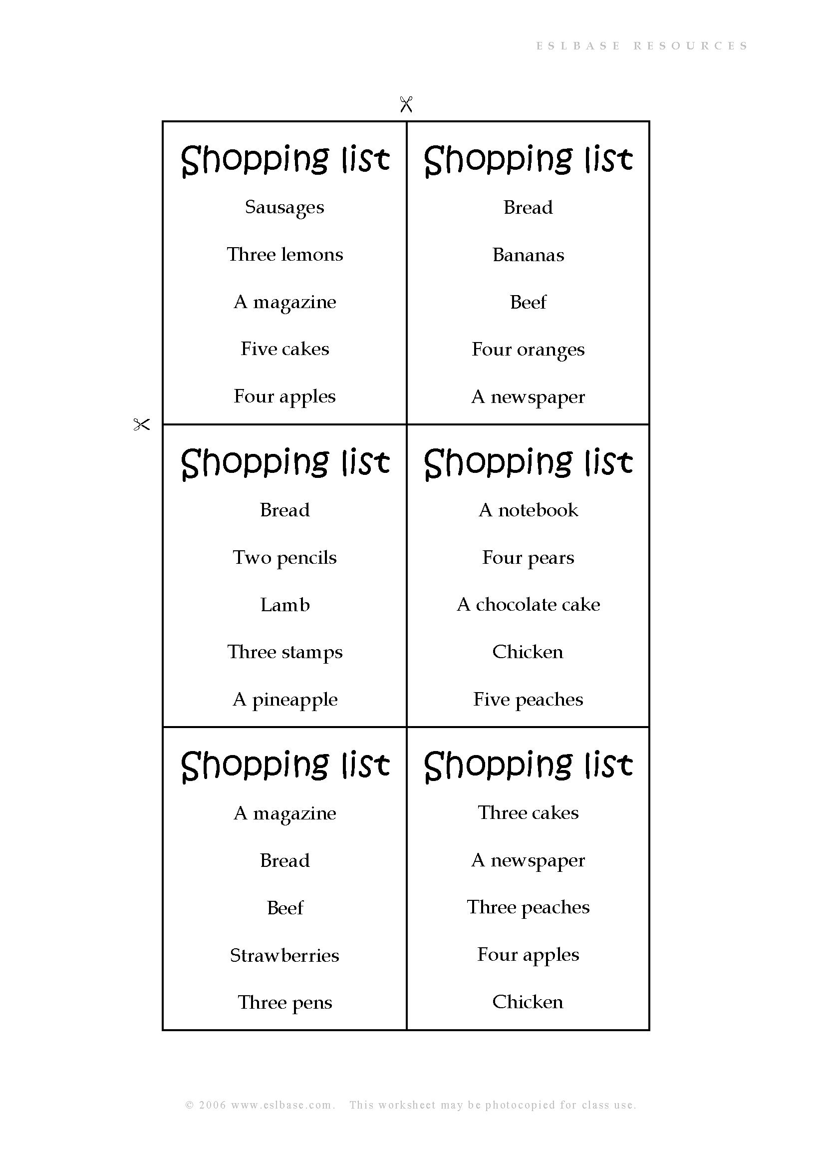 Shopping Roleplay Activity