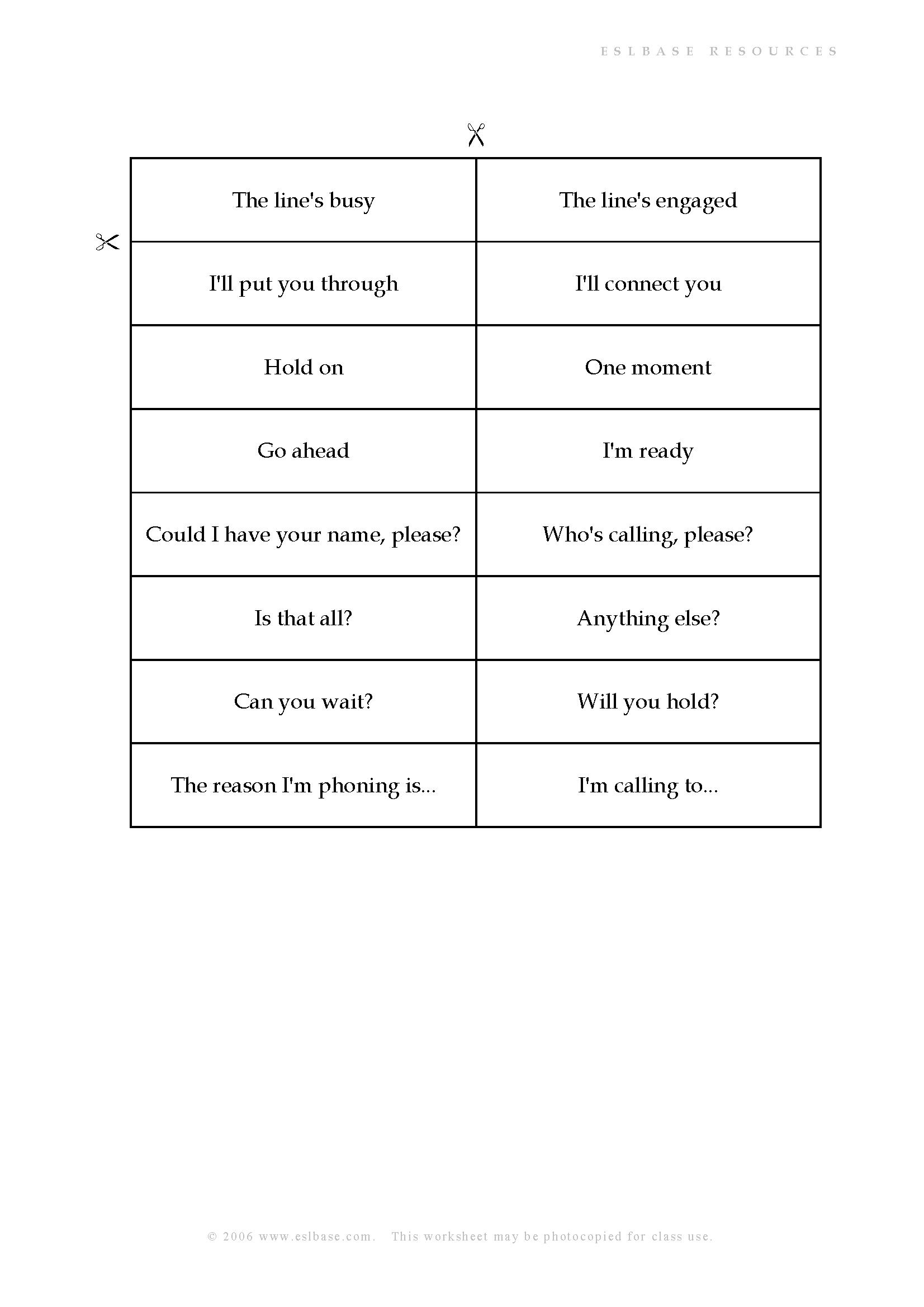Language Of Telephoning