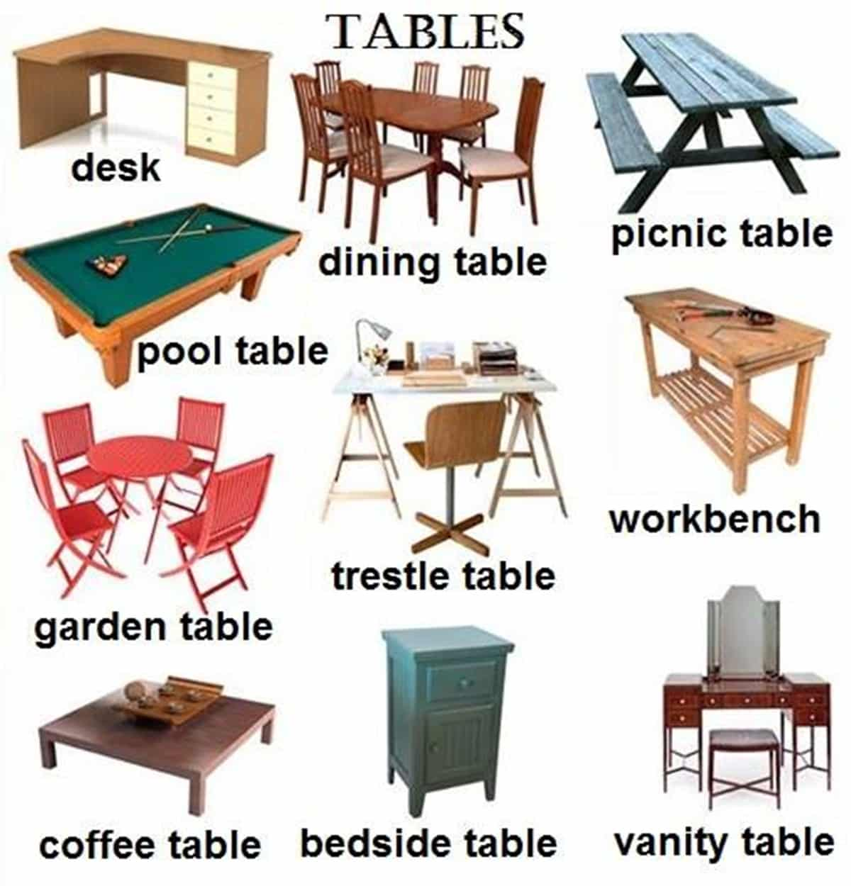 Furniture vocabulary 250 items illustrated esl buzz for Living room vocabulary