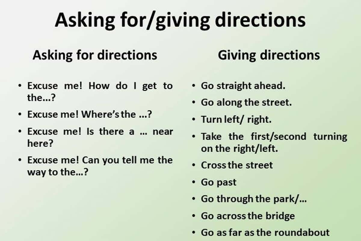 Useful Expressions For Asking And Giving Directions In