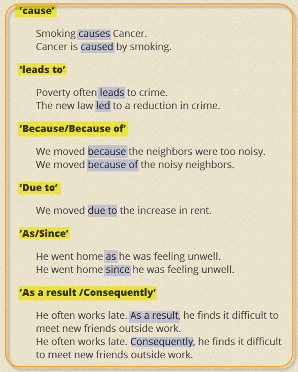 Frequently Used Linking Words And Phrases Reasons And