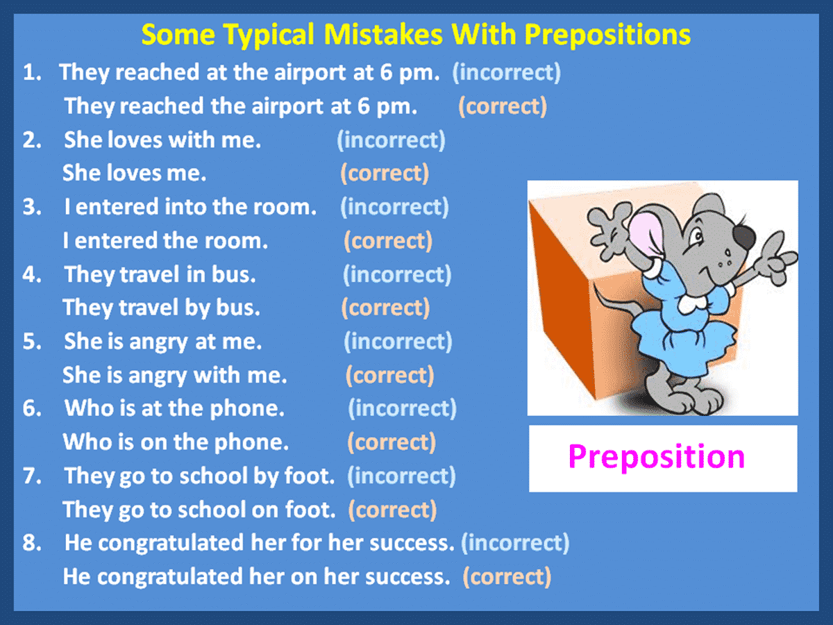 Common Mistakes With Prepositions Made By Learners Of