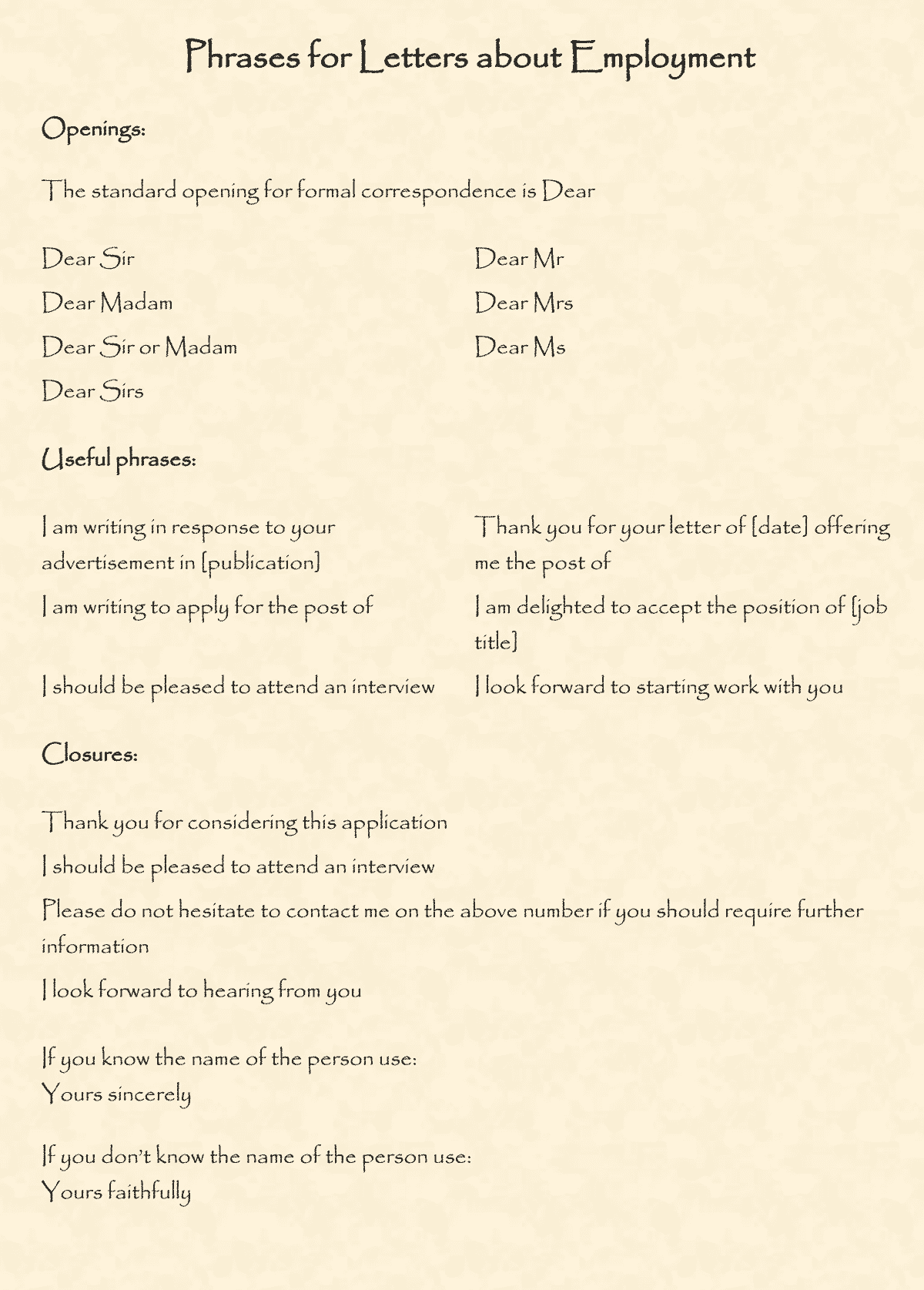 Useful phrases and vocabulary for writing letters in english esl buzz if you dont know the name of the person use yours faithfully spiritdancerdesigns Gallery