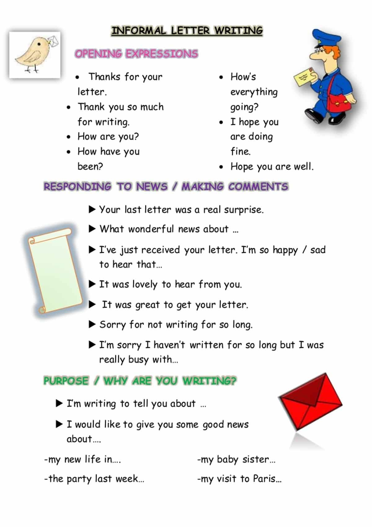 How To Write Informal Letters In English With Examples