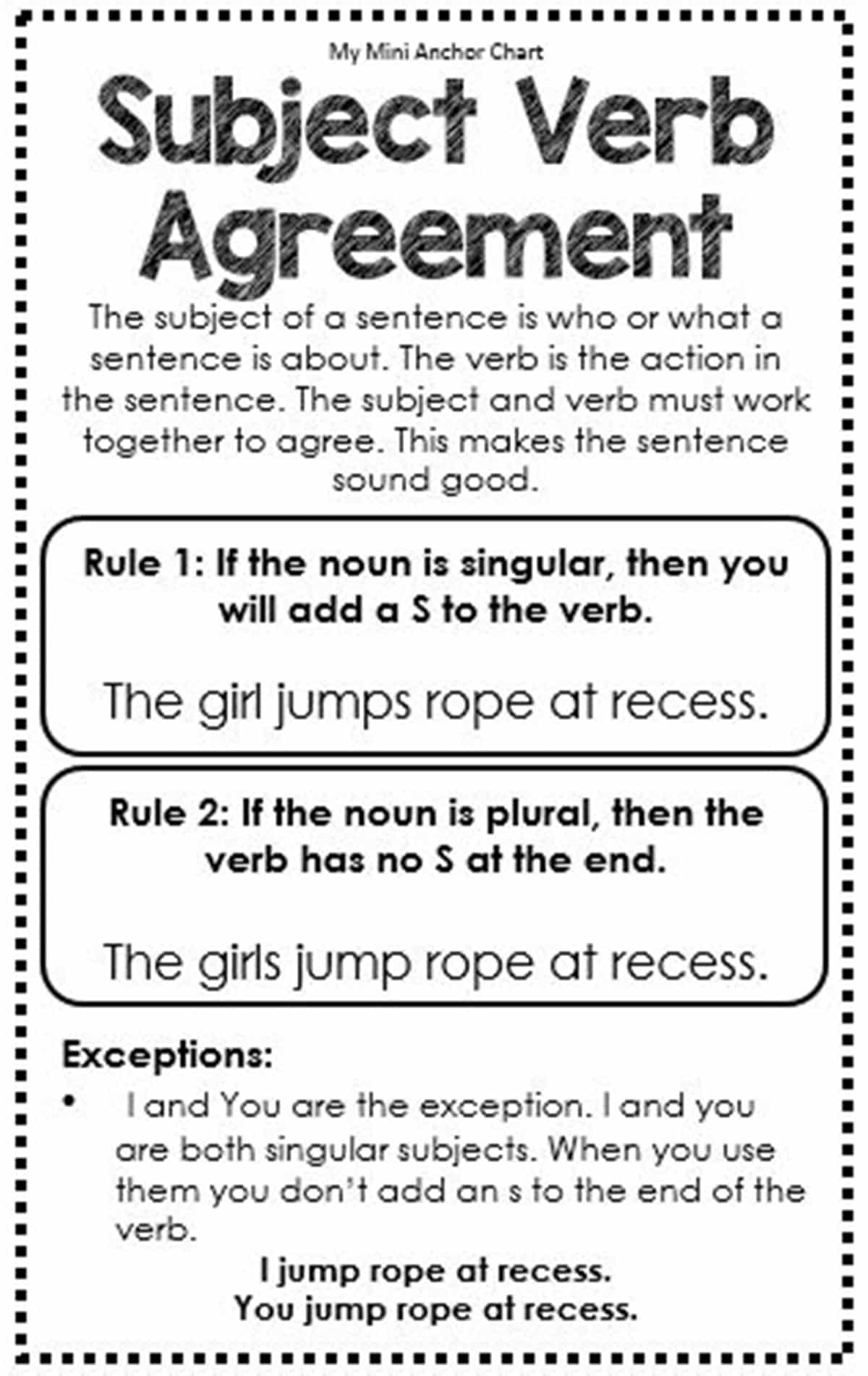 Subject and Verb Agreement Quiz 1