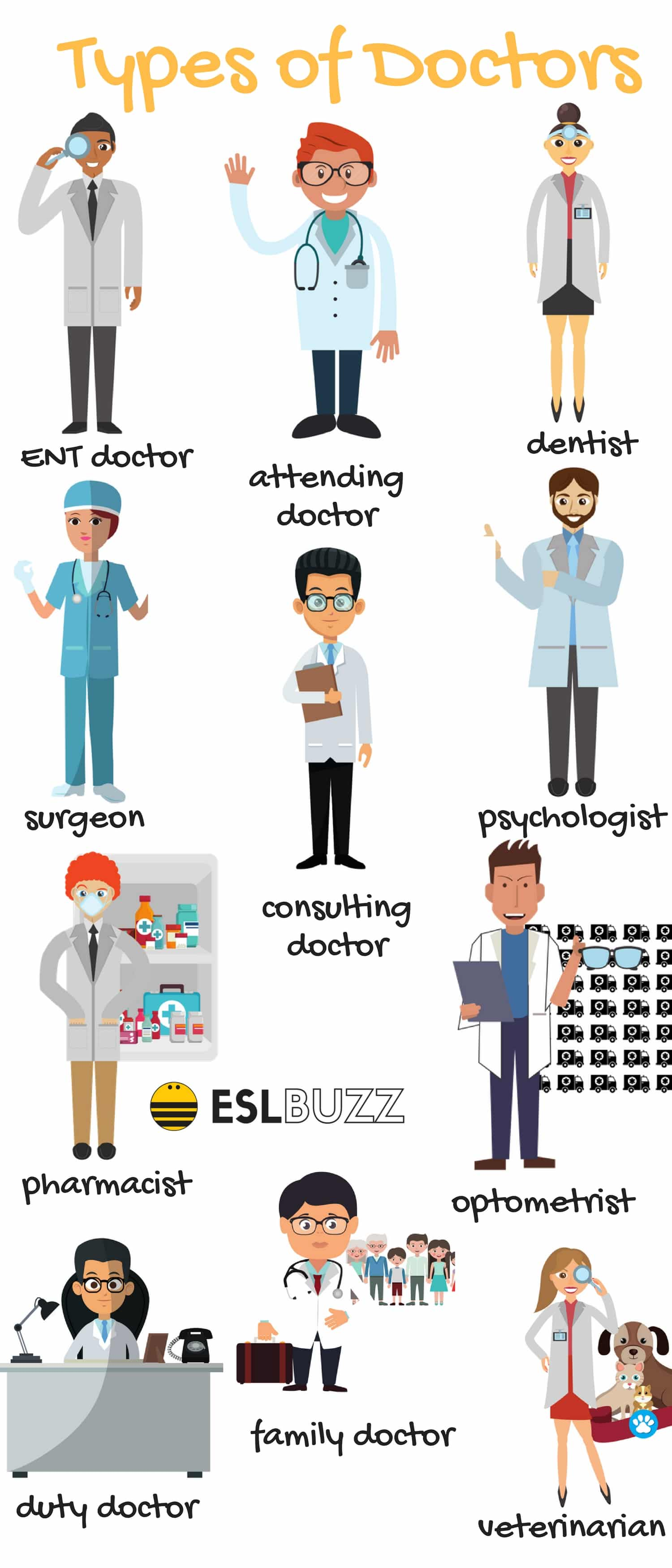 Different Types Of Doctors Vocabulary In English