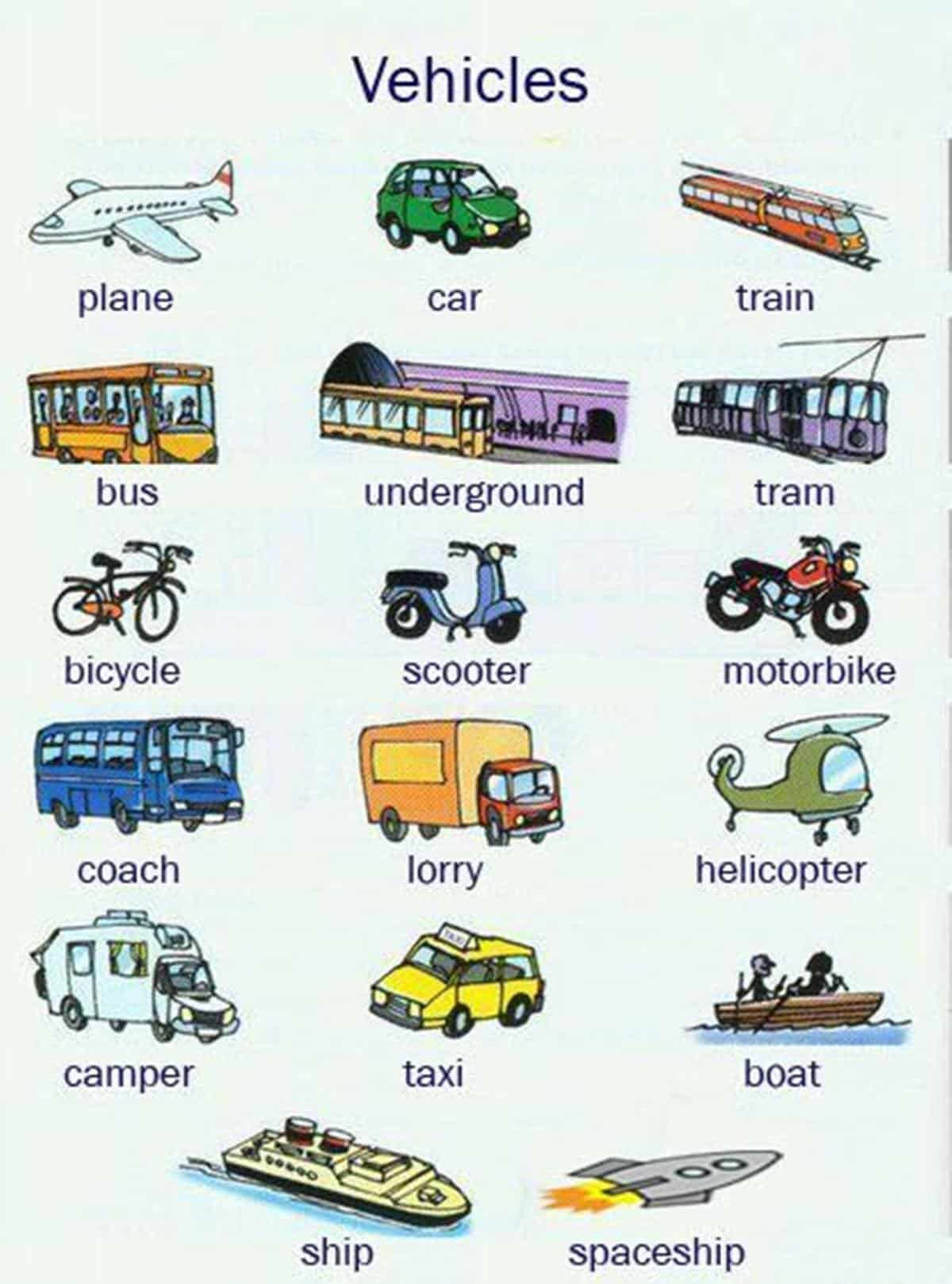 Street Vehicles and Transportation Vocabulary in English 16