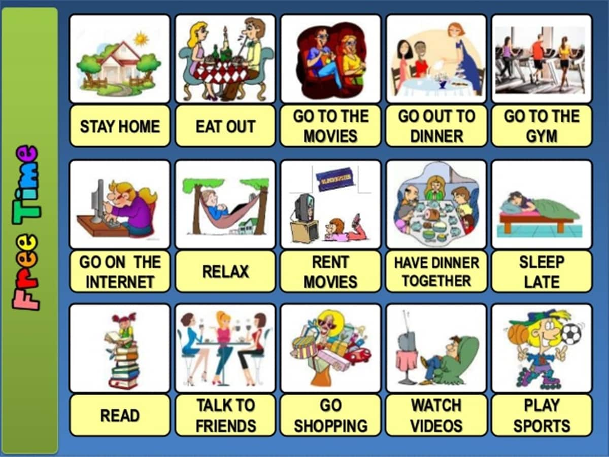 """""""Free Time and Leisure Activities"""" Vocabulary in English – ESL Buzz"""