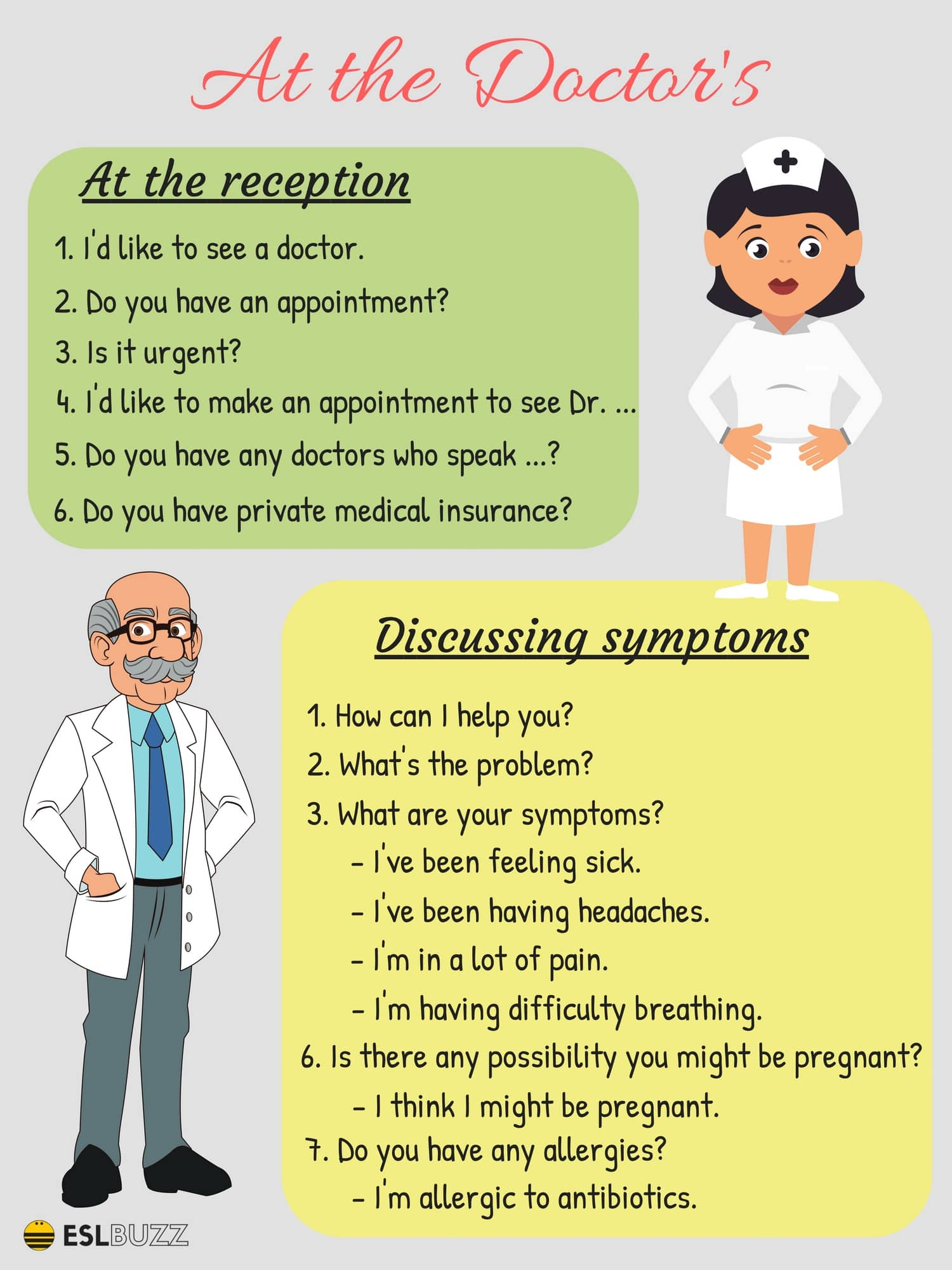 20 Common English Phrases For The Doctor S Office