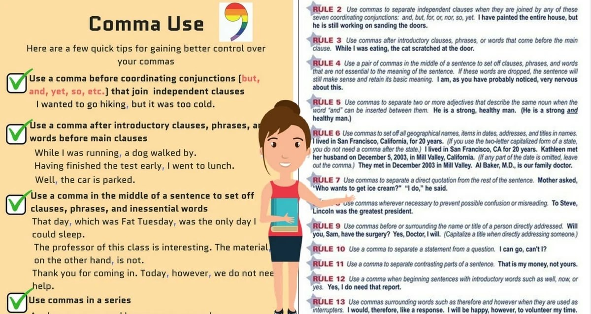 Comma Rules 8 Rules For Using Commas Correctly Eslbuzz Learning English