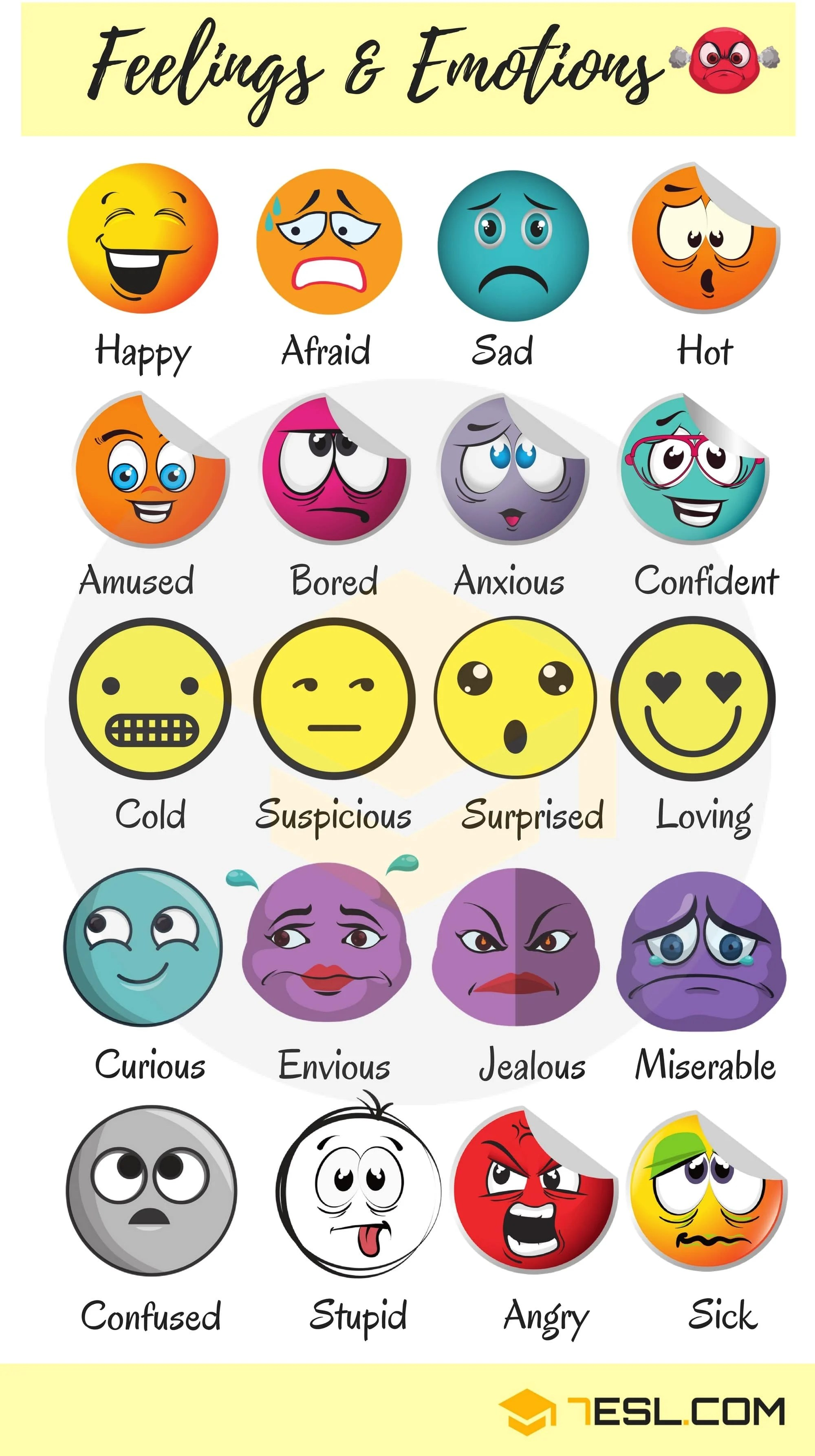 List Of Useful Adjectives To Describe Feelings And