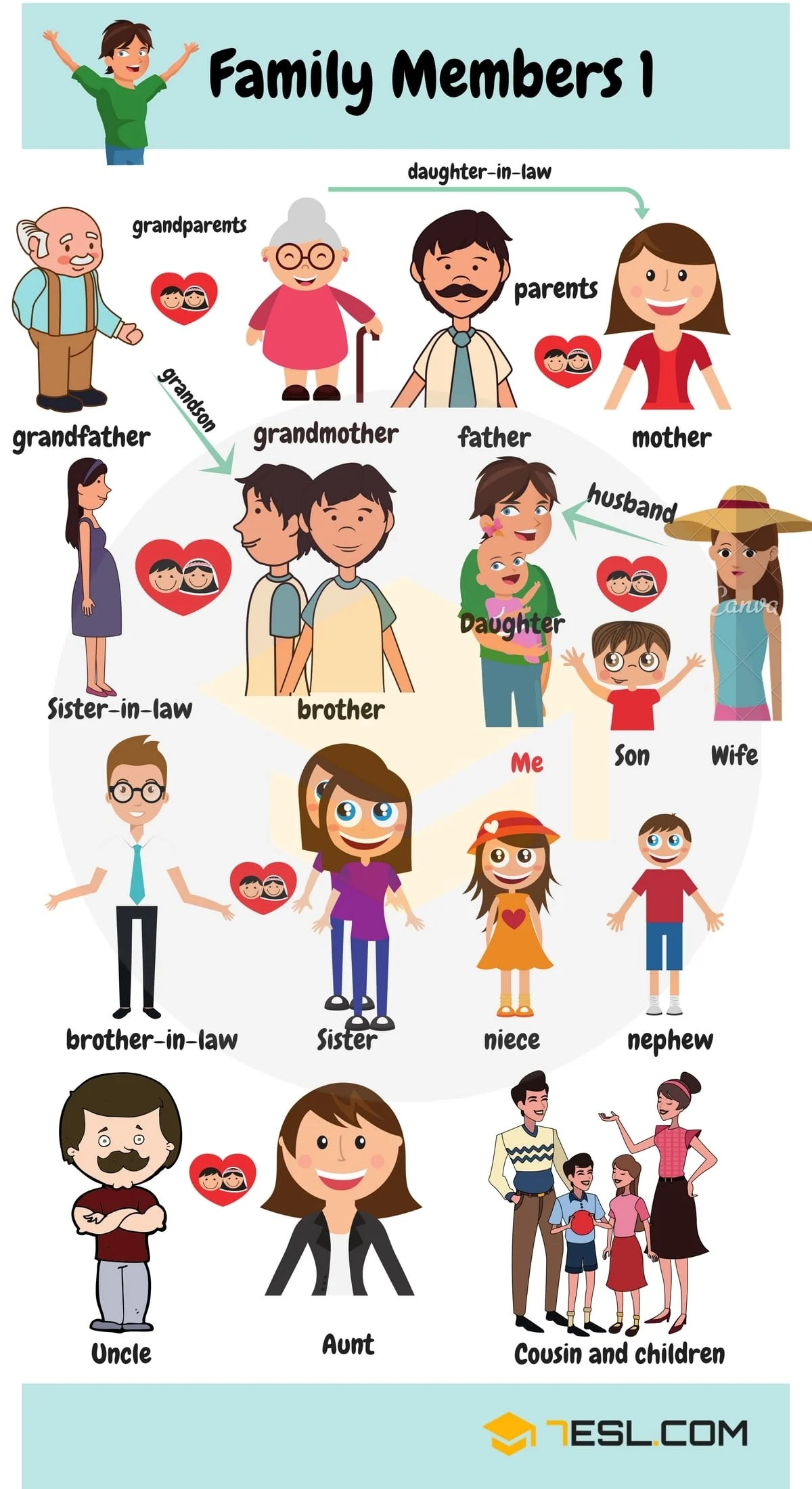 Members Of The Family Vocabulary In English